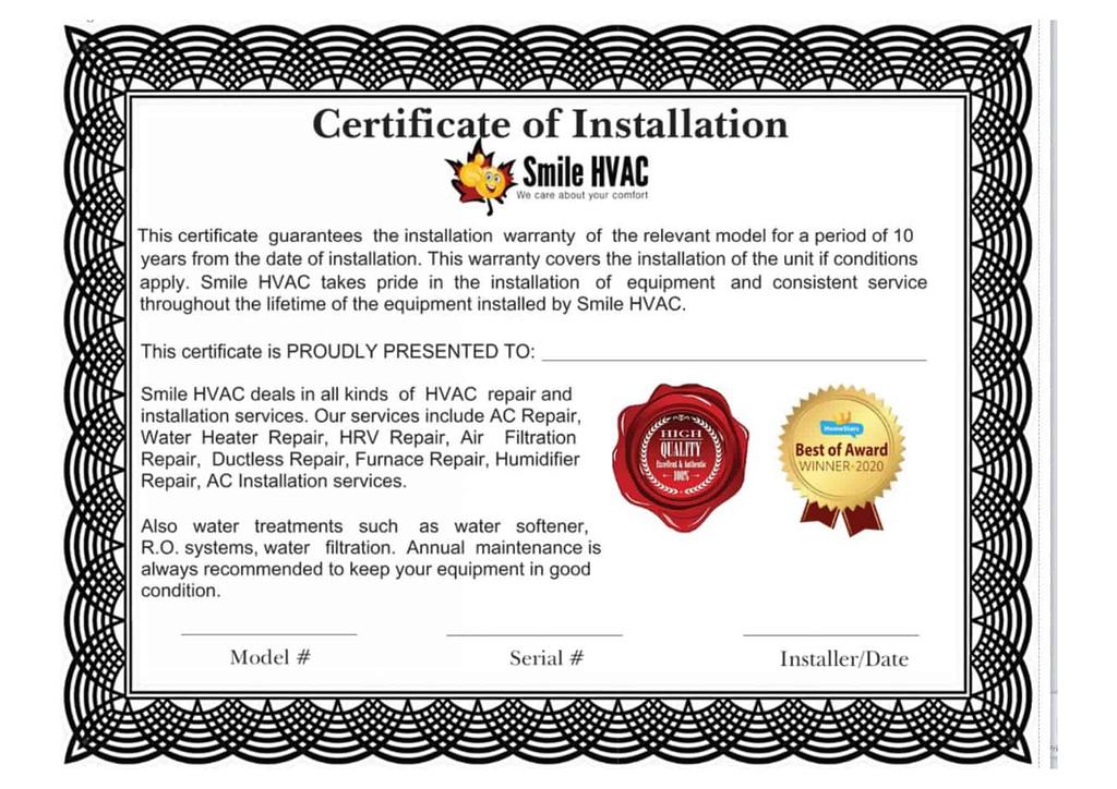Smile HVAC installation warranty